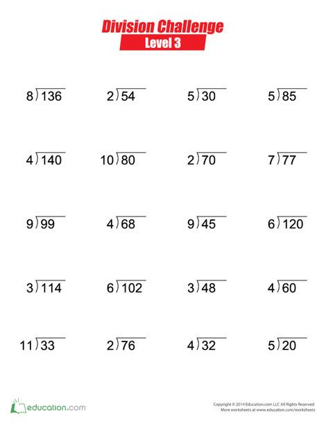 Third Grade Math Worksheets: Division Challenge: Level 3