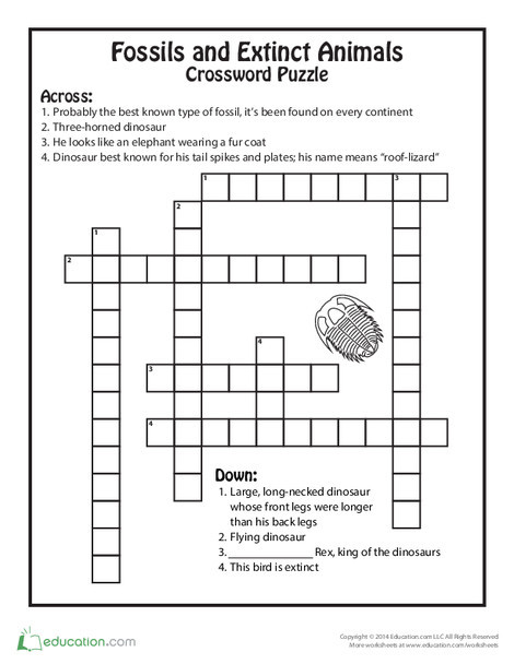 Fifth Grade Reading & Writing Worksheets: Extinct Animals and Fossils Crossword