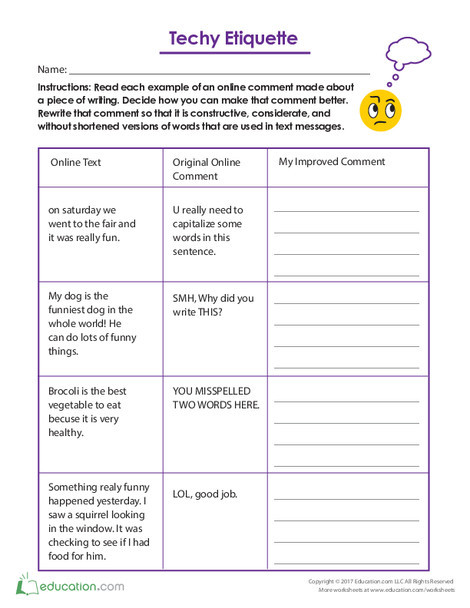 Fifth Grade Reading & Writing Worksheets: Techy Etiquette