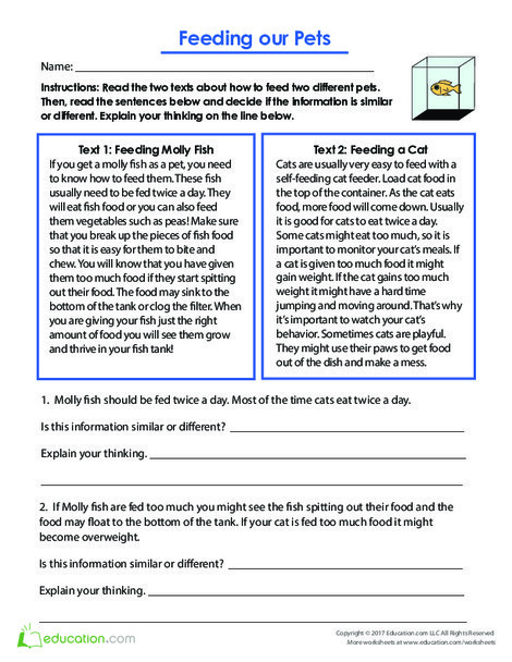 Third Grade Reading & Writing Worksheets: Feeding Our Pets