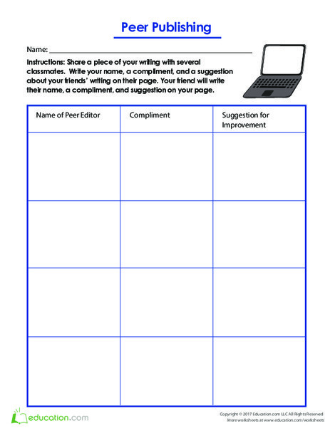Fifth Grade Reading & Writing Worksheets: Peer Publishing