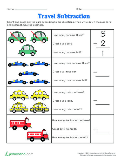 Kindergarten Math Worksheets: Travel Subtraction