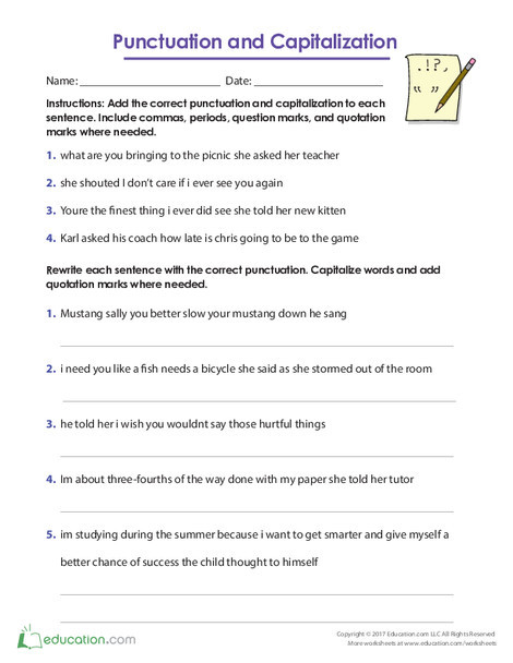 Fifth Grade Reading & Writing Worksheets: Punctuation and Capitalization