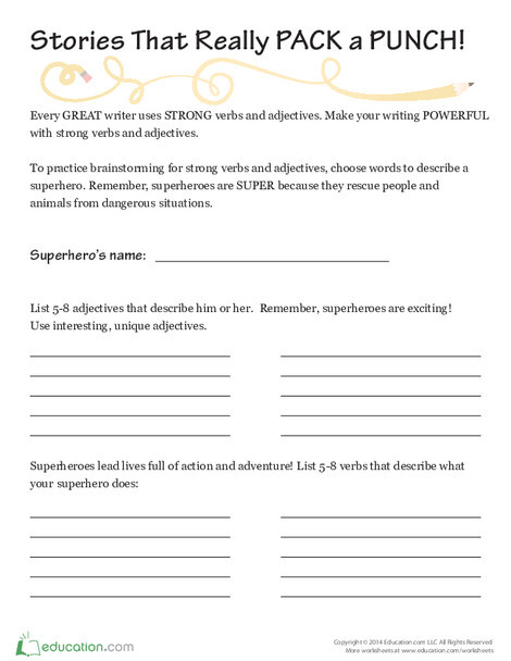 Third Grade Reading & Writing Worksheets: Create Your Own Superhero!