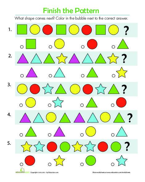First Grade Math Worksheets: Pattern Quiz