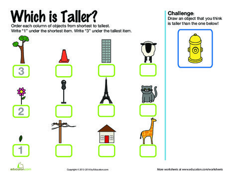 First Grade Math Worksheets: Which is Taller?