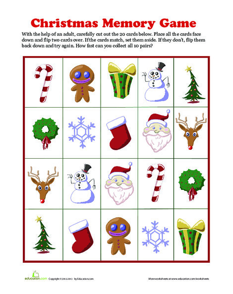 Second Grade Offline games Worksheets: Christmas Memory Game