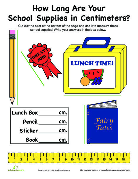 First Grade Math Worksheets: Measuring in Centimeters