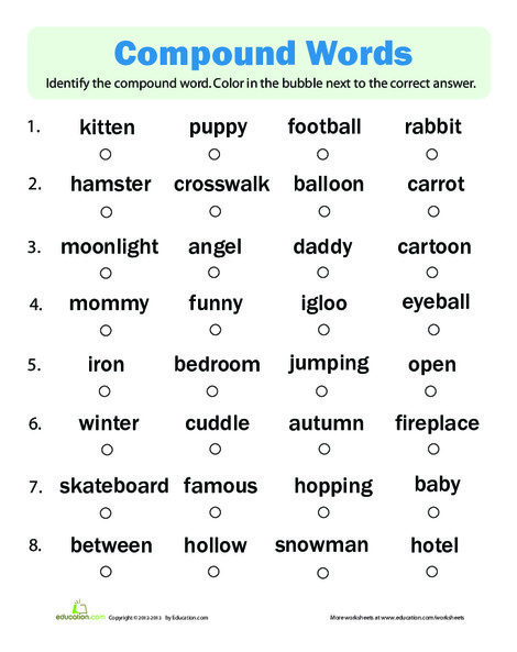 First Grade Reading & Writing Worksheets: Compound Words Quiz