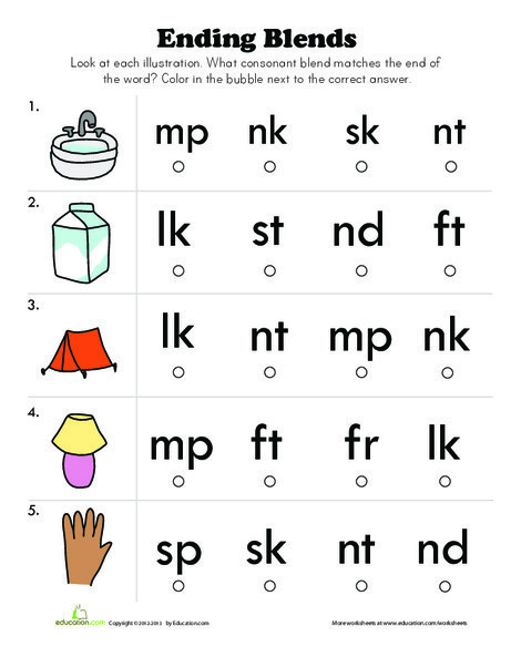 First Grade Reading & Writing Worksheets: End Blends