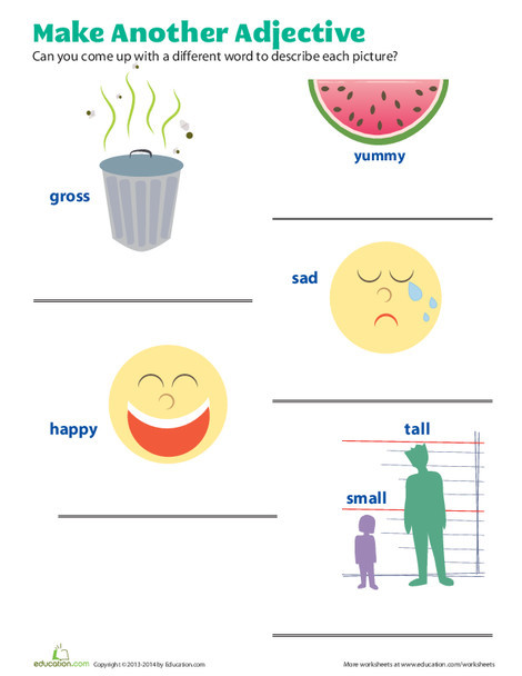 First Grade Reading & Writing Worksheets: Better Adjectives