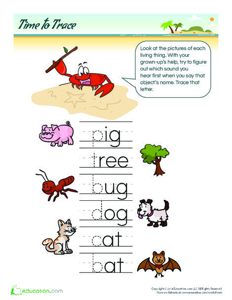 Preschool Reading & Writing Worksheets: Tracing Letters: Living Things