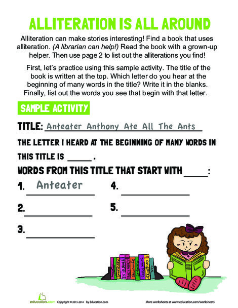Kindergarten Reading & Writing Worksheets: Alliteration Activity