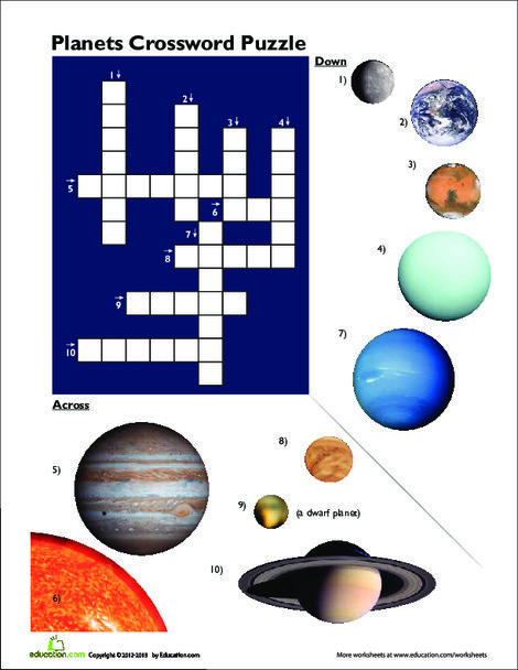 Third Grade Science Worksheets: Planet Pictures Crossword