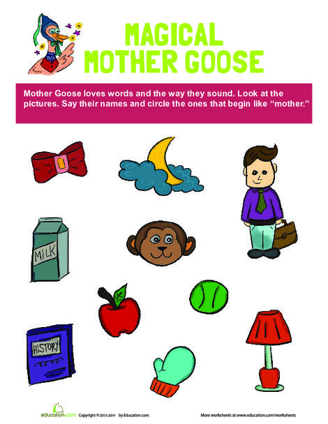 "Preschool Reading & Writing Worksheets: ""M"" Words"