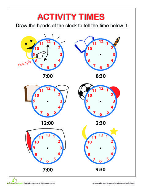First Grade Math Worksheets: Tell the Time