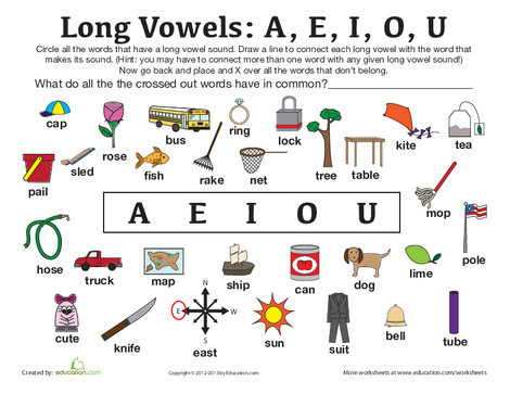 First Grade Reading & Writing Worksheets: Long Vowel Sounds