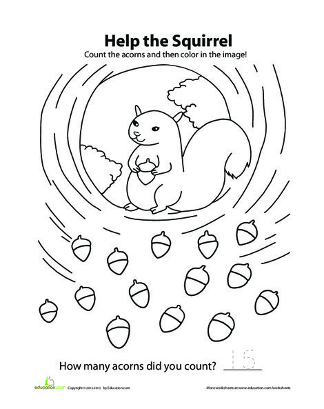 Preschool Coloring Worksheets: Squirrel Count and Color