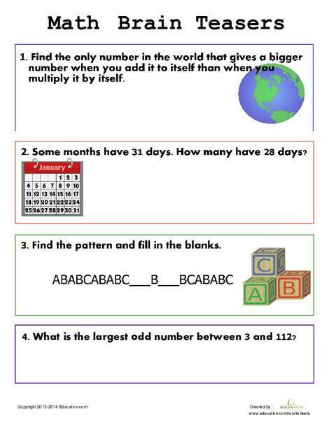 First Grade Math Worksheets: Easy Brain Teasers for Kids