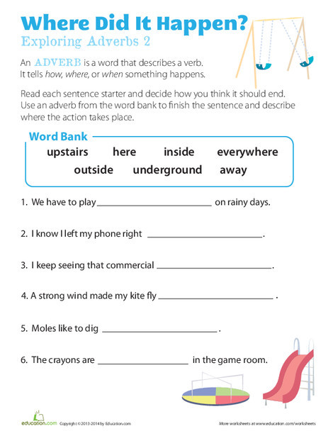 First Grade Reading & Writing Worksheets: Where Adverbs