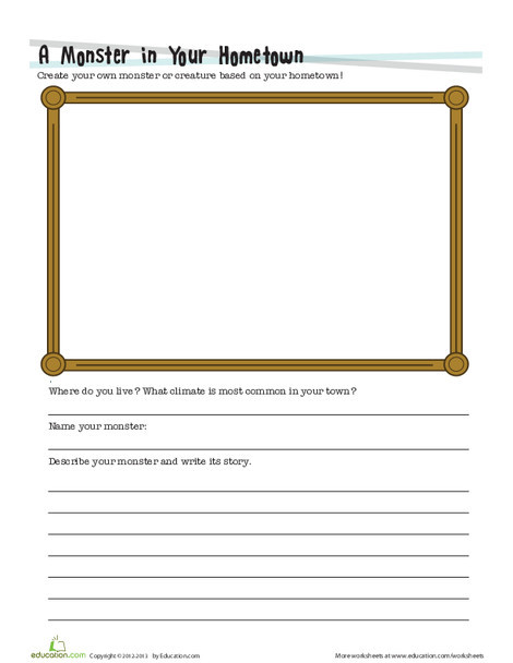 Fourth Grade Reading & Writing Worksheets: Create a Monster