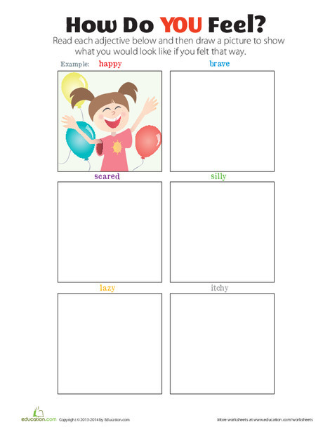 First Grade Reading & Writing Worksheets: How Do You Feel?
