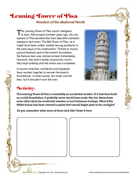 Fourth Grade Social studies Worksheets: Leaning Tower of Pisa