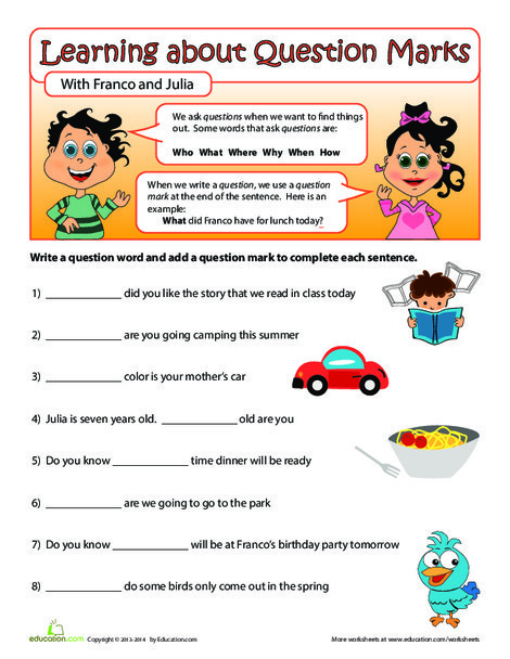Second Grade Reading & Writing Worksheets: Question Words