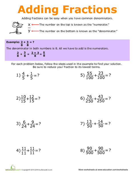 Fifth Grade Math Worksheets: How to Add Fractions