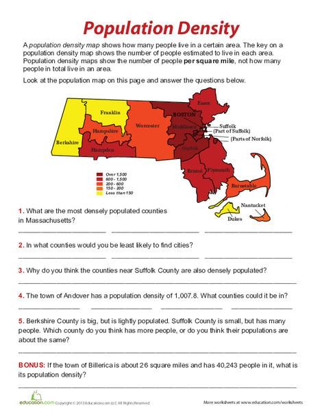 Fifth Grade Social studies Worksheets: Population Density