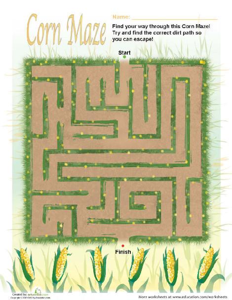 First Grade Offline games Worksheets: Fall Corn Maze