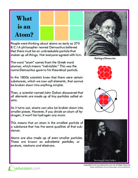 Fifth Grade Science Worksheets: What is an Atom?