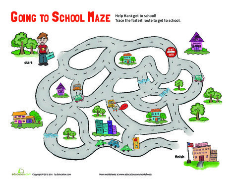Kindergarten Math Worksheets: School Maze