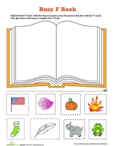 Preschool Reading & Writing Worksheets: F Book