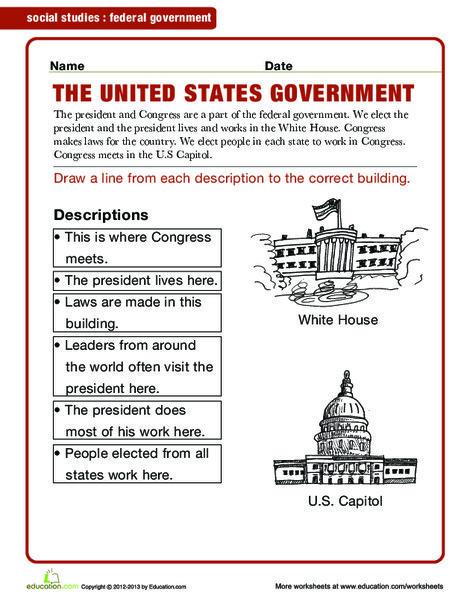 Second Grade Social studies Worksheets: Federal Government