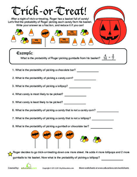 Fifth Grade Holidays Worksheets: Find the Probability