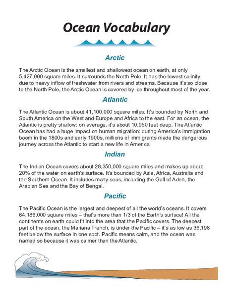 Fourth Grade Social studies Worksheets: World Oceans