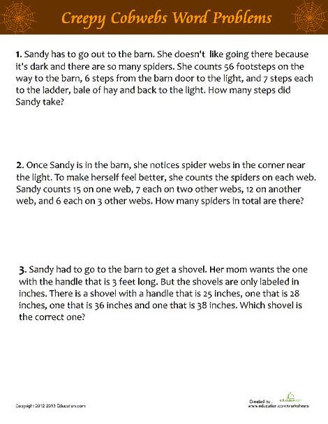 Fifth Grade Math Worksheets: Creepy Cobwebs Word Problems