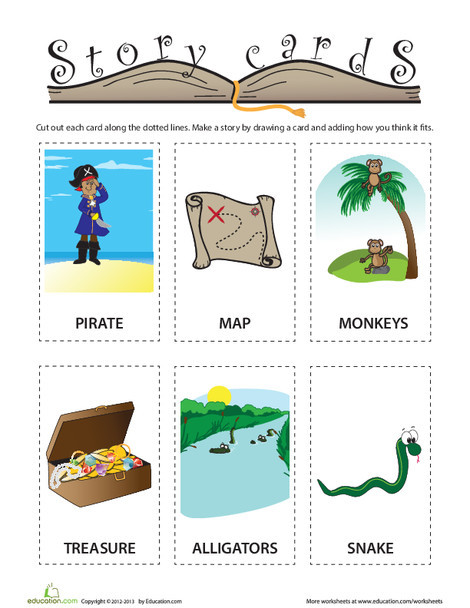 Kindergarten Reading & Writing Worksheets: Pirate Story Cards