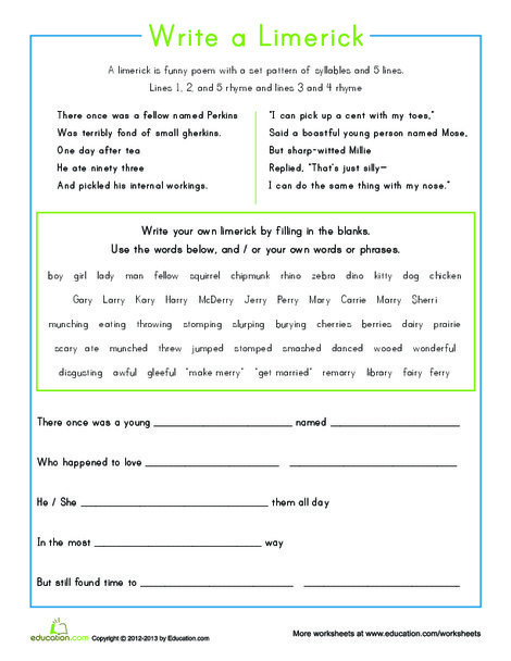 Third Grade Reading & Writing Worksheets: Write Your Own Limerick
