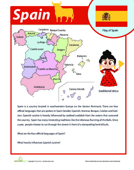 Fourth Grade Reading & Writing Worksheets: Spain Facts