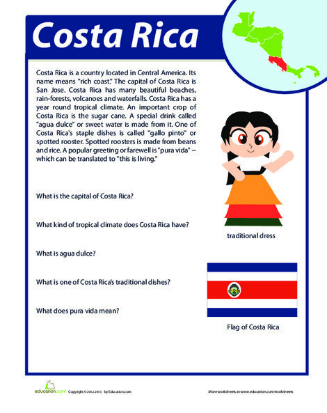 Fourth Grade Reading & Writing Worksheets: Costa Rica Facts