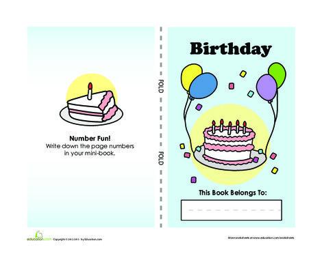 Kindergarten Arts & crafts Worksheets: Birthday Mini-Book