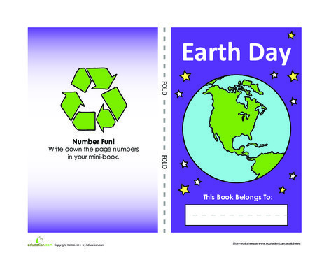 Kindergarten Arts & crafts Worksheets: Earth Day Mini-Book