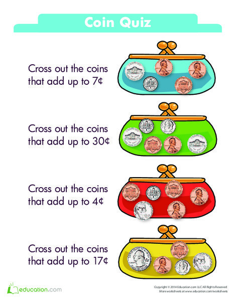 Kindergarten Math Worksheets: Coin Quiz