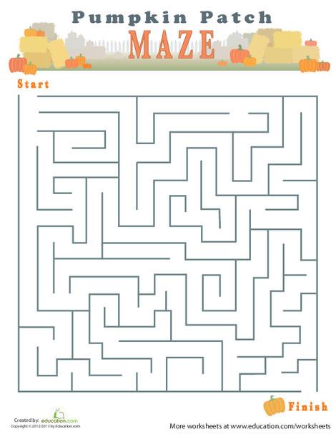 Third Grade Offline games Worksheets: Autumn Maze