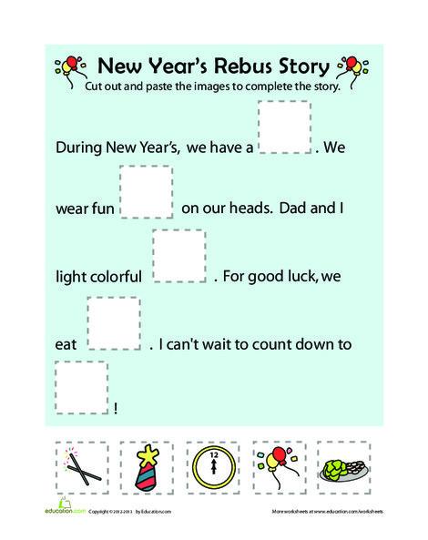 Kindergarten Reading & Writing Worksheets: New Year's Rebus Story