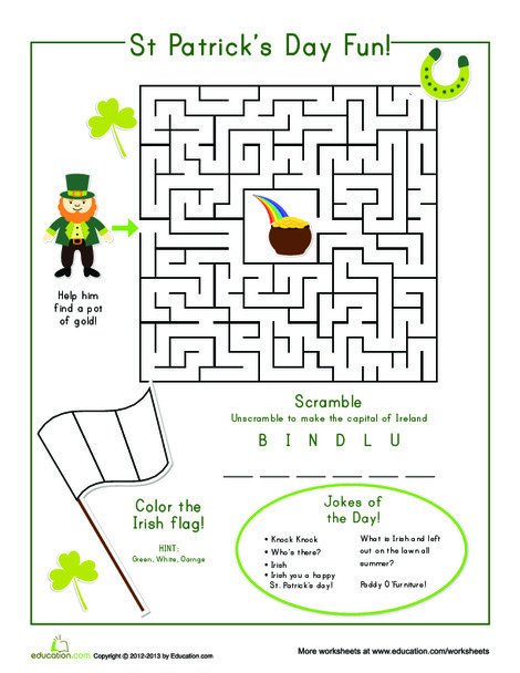 First Grade Offline games Worksheets: St. Patrick's Day Fun