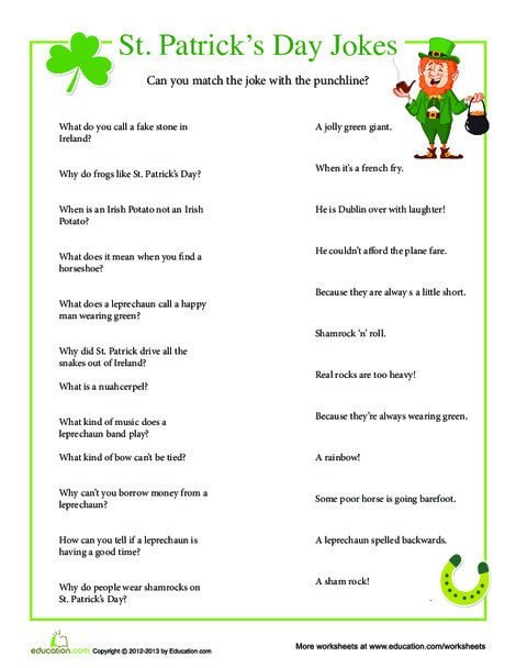 First Grade Holidays Worksheets: St. Patrick's Day Jokes