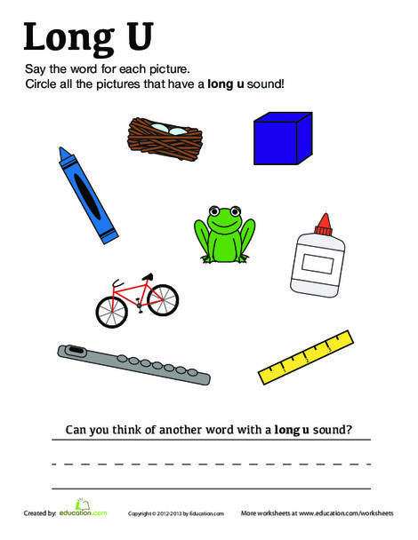 "First Grade Reading & Writing Worksheets: Long ""U"" Vowel Sound"